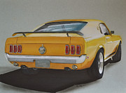 Mustang Drawings Posters - 1970 Mustang Fastback Poster by Paul Kuras