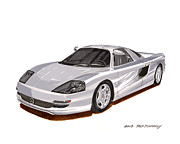 Basic Paintings - 1991 Mercedes Benz C 112 Concept by Jack Pumphrey