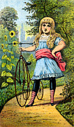 Mountain Bike Paintings - 19th C. Girl and her Tricycle by Historic Image