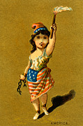 July 4th Paintings - 19th C. Lady Liberty  by Historic Image