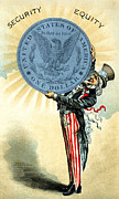 Patriotism Paintings - 19th C. Uncle Sam Likes Silver by Historic Image