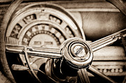 Country Photographs Photos - 1949 Chrysler Town and Country Convertible Steering Wheel Emblem by Jill Reger