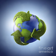 Global Digital Art - 3d Rendering Of Planet Earth Surrounded by Evgeny Kuklev
