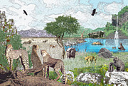 Elephants Digital Art Originals - African Waterhole by Ray Simpson