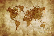 Vintage Map Digital Art - Aged World Map On Dirty Paper by Evgeny Kuklev