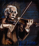 Theory Drawings Prints - Albert Einstein and Violin Print by Daliana Pacuraru