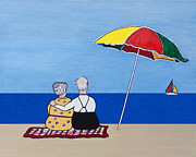 Elderly People Paintings - Always Together by Barbara McMahon