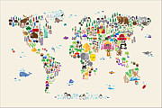 Cartoon Animals Framed Prints - Animal Map of the World for children and kids Framed Print by Michael Tompsett