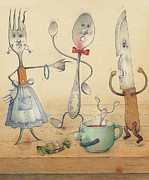 Food Drawings Metal Prints - Argument Metal Print by Kestutis Kasparavicius