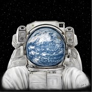 Science Fiction Art - Astronaut Earth by Tharsis  Artworks
