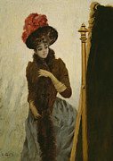Vanity Paintings - Before the Swing Mirror by Emile Galle