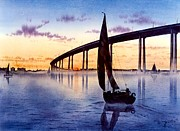 Bay Bridge Paintings - Bridge At Sunset by John YATO