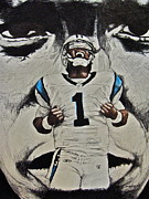 Newton Drawings - Cam Newton by Darryl Mallanda