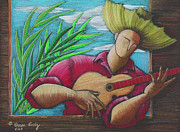 Puerto Rico Drawings Framed Prints - Cancion para mi tierra Framed Print by Oscar Ortiz