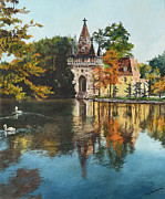 Fantasy Tree Art Paintings - Castle on the Water by Mary Ellen Anderson