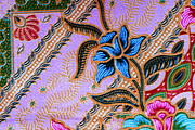Macro Tapestries - Textiles Posters - Colorful batik cloth fabric background  Poster by Prakasit Khuansuwan