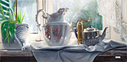 Interior Still Life Painting Metal Prints - Controluce Metal Print by Danka Weitzen