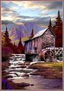 Autumn In The Country Framed Prints - Creekside Mill Framed Print by Ronald Chambers