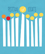 Featured Mixed Media Posters - Festival Of Lights Poster by Linda Woods