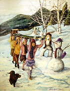 Little Girl Posters - Frosty Frolic Poster by Linda Simon