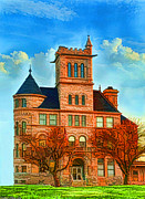 Photomanipulation Photo Prints - Historic City Hall Springfield  Mo Print by Debbie Portwood