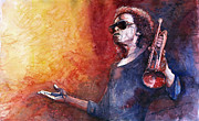 Watercolor  Paintings - Jazz Miles Davis by Yuriy Shevchuk