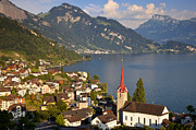 Parish Church Framed Prints - Lake Lucerne Framed Print by Brian Jannsen