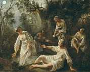Soiree Art - Lancret, Nicolas 1690-1743. The Four by Everett