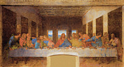 Last Supper Mixed Media Posters - Last Supper Poster by Leonardo da Vinci