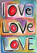 Kids Art Mixed Media Posters - Love Poster by Linda Woods