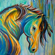 Colorful Horse Paintings - Loyal One by Theresa Paden