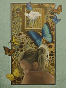 Sympathy Painting Posters - On A Wing and A Prayer Poster by Nancy M Garrett