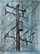 Linocut Drawings Originals - Pole with Transformer by William Cauthern