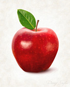 Delicious Posters - Red Apple Poster by Danny Smythe