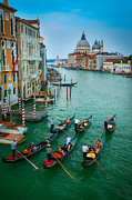 Gondolier Photo Framed Prints - Six Gondolas Framed Print by Inge Johnsson