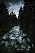 World Rock Posters - Small River Flowing Over Large Stones Poster by Evgeny Kuklev
