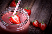 Background Photo Posters - Strawberry smoothie Poster by Jane Rix