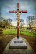 Cemetary Framed Prints - The Cross Framed Print by Adrian Evans