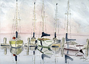 Sailboats Drawings Framed Prints - The Marina Framed Print by Eva Ason