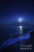 Sea Moon Full Moon Framed Prints - Tranquil Ocean At Night Against Starry Framed Print by Evgeny Kuklev