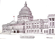 Washington Dc Drawings - United States Capitol by Frederic Kohli