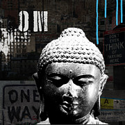 Urban Mixed Media Posters - Urban Buddha  Poster by Linda Woods