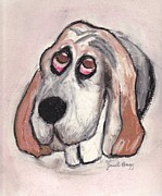 Sad Pastels Posters - Vincent the Dog Poster by Janel Bragg