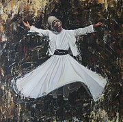Turkish Paintings - Whirling Dervish by Carol Bostan