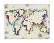 Flower Map Framed Prints - World Map Watercolor Framed Print by WaterColorMaps Chris and Mary Ann