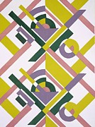 Bright Colors Drawings Metal Prints - Design from Nouvelles Compositions Decoratives Metal Print by Serge Gladky