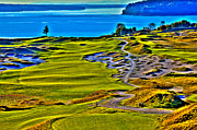 Us Open Posters - #5 at Chambers Bay Golf Course - Location of the 2015 U.S. Open Tournament Poster by David Patterson