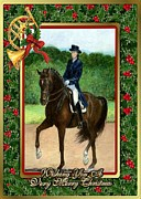 Dressage Drawings - Dressage Horse Christmas Card by Olde Time  Mercantile