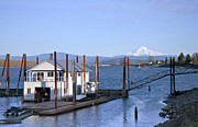 Wooden Platform Metal Prints - Floating house on the Columbia river Oregon. Metal Print by Gino Rigucci