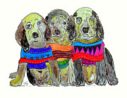 Spaniels Drawings Framed Prints - 3 Little Rascals Framed Print by Brian Buckley